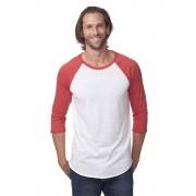Royal Apparel Unisex Triblend Raglan Baseball Long Sleeved T Shirt Tri White/Tri Red 20060