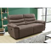 Lifestyle4Living 2,5er Sofa in grau-braune Stoff bezogen mit Liegefunktion, Maße: B/H/T ca. 209/98/95 cm