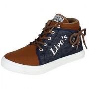ShoetoeZ LIVES Mens Casual Shoes Blue Canvas shoes Mens sneakers High Ankle Size 7 - 10