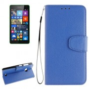 For Microsoft Lumia 535 Litchi Texture Horizontal Flip Leather Case with Holder & Card Slots & Wallet & Photo Frame & Lanyard(Blue)