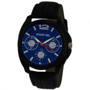 Golden Bell Men'S Black & Blue Round Genuine Leather Strap Wrist Watch (306Gb)
