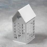 """Lanterna in metallo """"Casa Cuore con Finestre"""" Grande da 22 cm - BIANCA"""
