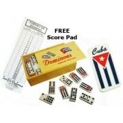 Flag Double Nines Dominoes Set Wood Box With Score Pad
