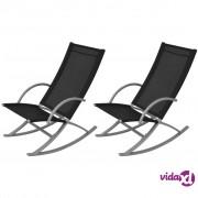 vidaXL Vrtne Stolice za ljuljanje 2 kom Crne