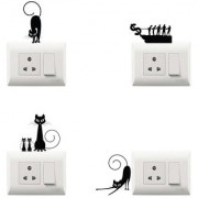100yellow PVC Vinyl Blavk cat theme switch board sticker for Light Switches- Ideal for kids room (Set of 4)