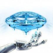 Mini drona OZN disc zburator interactiv cu senzori infrarosu lumina LED bleu