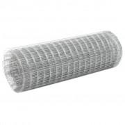 vidaXL ezüst horganyzott acél csirkeháló drótkerítés 25 x 0,5 m