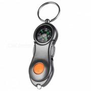 Multi-funcion de luz LED al aire libre + compas w / llavero - gris + naranja