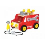 Janod joc magnetic de construit din lemn Redmaster Bricolo Truck 06490 roşu-galben