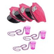 Vegaoo JGA-Partyset für Damen Polizeimützen und Shotgläser 6-teilig pink