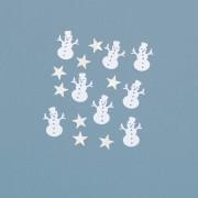 Mix confetti metalice stelute argintii si om de zapada