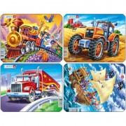 Set 4 Puzzle-uri Pirati, Tractor, Camion, Tren, Larsen, 8 piese, Multicolor