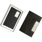 Billiondeal High Quality   Combo of 2   Steel Plain Metal Business ATM And 1 Steel Card Holder And Black Leather Piece Visiting Card Holder 6 Card Holder(Set of 2, Silver)