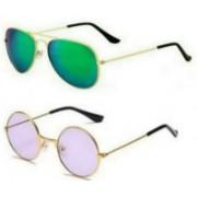 SunTap Round, Aviator Sunglasses(Green, Violet)