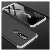 GKK Empalme Tres Etapa Plena Cobertura PC Case Para Nokia X6 (2018) / 6.1 Plus (negro + Plata)