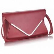 Geanta plic burgundy din piele ecologica Leesun de dama LSE00166A