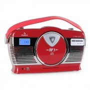 Auna RCD-70 Radio retro FM USB CD pilas rojo (MG-RCD-70)