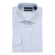 【83%OFF】ストライプ スプレッドカラー フィットシャツ ライトブルー 17/32 ファッション > メンズウエア~~その他トップス