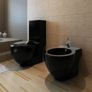 vidaXL Černá keramická toaleta a bidet