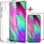 iCall - Samsung Galaxy A40 Hoesje + Screenprotector Full-Screen - Transparant Shockproof Case