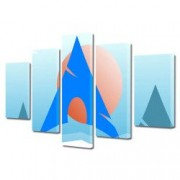 Tablou Canvas Premium Abstract Multicolor Oras Oglindit In Apa Decoratiuni Moderne pentru Casa 120 x 225 cm