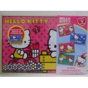 Super Fun Hello Kitty Wood Puzzle Includes 4 Puzzles