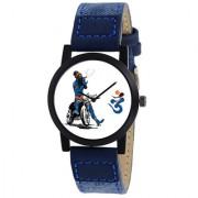 Round Dial Blue BABA Leather Strap Men Quartz Watch for Men 6 month warranty