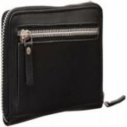 Leatherman Women Travel Black Genuine Leather Wallet(11 Card Slots)