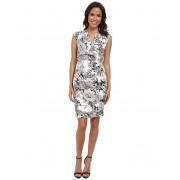 Adrianna Papell Side Wrap Pleated Floral WhiteGrey