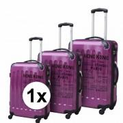 Merkloos Paarse reiskoffer op wieltjes 69 cm