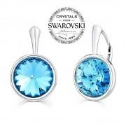 Silvego SILVEGO stříbrné náušnice se Swarovski(R) Crystals aquamarine 12mm - VSW010E