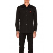Comme Des Garcons PLAY Small Red Emblem Cotton Button Down in Black. - size M (also in L,S,XL)