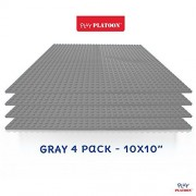 "Building Bricks - 10"" x 10"" Gray Stackable Baseplate (4 Pack) Classic Baseplates Compatible with All Major Brands"
