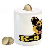 German Shepherd Coin Box Bank by Lunarable, Special Working Police Dog K-9 Unit Typography Abstract Artistic Hound, Printed Ceramic Coin Bank Money Box for Cash Saving, Multicolor