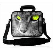 "15""- 15.6"" inch Tablet Laptop Notebook MacBook Case Bag with Handle and Strap Pouch Protective Skin Cover by Funky Planet Bags/Cases (15 HS Grey Cat)"