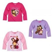 Masha and The Bear Masha och björnen, Långärmad T-shirt (Lila, 5 ÅR - 110 CM)