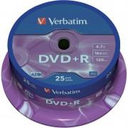 DVD+R Verbatim SL 16X 4.7GB 25PK SPINDLE MATT SILVER (43500)