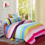 Polyester Colorful Stripes Single Twin Queen Reactive Bedding Set Bed Sheet Duvet Cover 3 Size