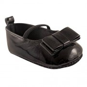 Luvable Friends Girls' Patent Leather Flat Bow Crib Shoe, Black, 12-18 Months M US Infant