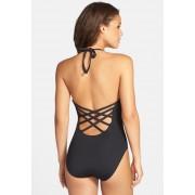 La Blanca Swimwear Caged Strap One-Piece Halter Swimsuit BLACK