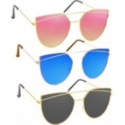 SRPM Wayfarer Sunglasses(Pink, Blue, Black)