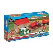 Fun Blocks (Compatible with Lego) Farm Tractor & Barn 5-in-1 Brick Set (330 Pieces)