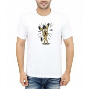 DOUBLE F ROUND NECK HALF SLEEVE WHITE COLOR SCARED ANIMAL PRINTED T-SHIRTS