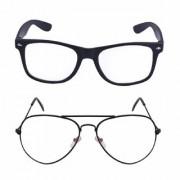 Meia Clear Lens Black Frame Aviator Wayfarer Sunglasses for Men Women. Boys Girl Set Of 2