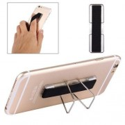 2 in 1 Adjustable Universal Mini Adhesive Holder Stand + Slim Finger Grip for Mobile Phones and Tablets Size: 7.3 x 2.2 x 0.3 cm(Black)