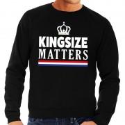 Bellatio Decorations Zwarte Kingsize matters sweater voor heren S - Feesttruien