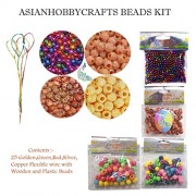 AsianHobbyCrafts Colourful Shining Plastic/Wooden Beads Kit:content: 5 and 12mm beads 3 Types multicolor :- qty 5mmBeads 25gm and 12mm Beads 25pcs each type, 25pcs Flexible wire, for beading DIY Jewelry, Hobby crafts, Scrapbooking.