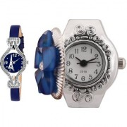 New Collection Peris Leather And Finger Ring Flower Blue Analog Watch For Girls And Women