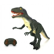 Dinosaur Planet Raptor Remote Controlled RC Battery Operated Toy Velociraptor Figure w/Shaking Head, Walking Movement, Light up Eyes & Sounds