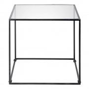 Maisons du Monde Tavolino da salotto in metallo nero e vetro temperato ISMA